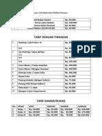 Daftar Pelayanan dan rencana Tarif Klinik Duta Medika Pratama.docx