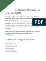 30 Popular Nursery Rhymes for Kids in English