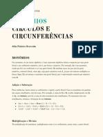 Monômios, círculos e circunferências