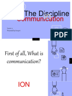 Lesson 12. the Discipline of Communication