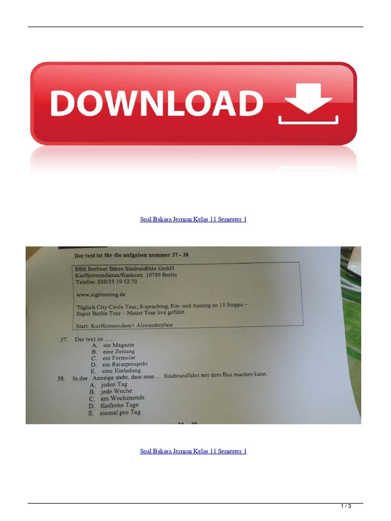 Soal Bahasa Jerman Kelas 11 Semester 1 1 Pdf