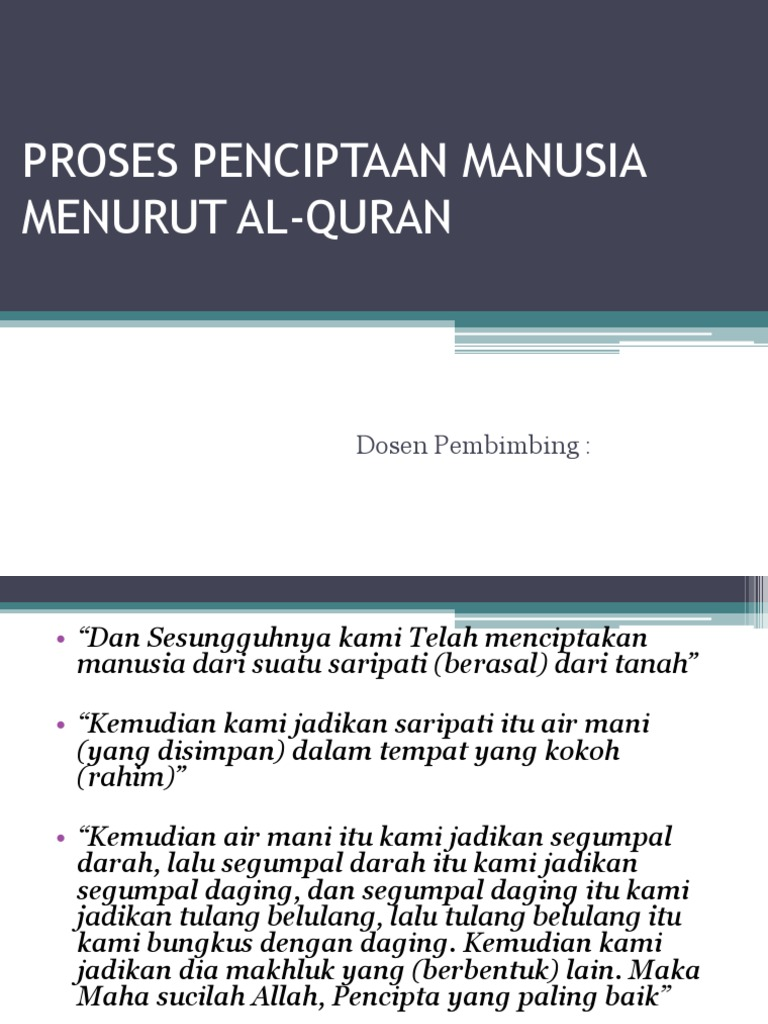 Ppt Proses Penciptaan Manusia Menurut Al Quran Pptx