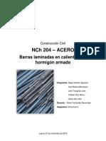 Informe NCh 204 ACERO - Barras laminadas en caliente para hormigón armado.docx