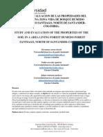 Estudio y Evaluacion de Las Propiedades Del Suelo en Una Zona Vida de Bosque Humedo Premontano Santiago, Norte de Santander-colombia.