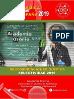 Recomendaciones Quimica Selectividad 2019