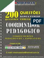 VUNESP 200 Questoes Coordenador Pedagogico Cp-ce Vmsimulados Divulgacao