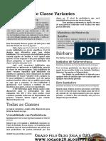 D&D 5e - Unearthed Arcana - Habilidades de Classe Variantes