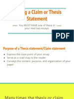 writing a claim or thesis statement