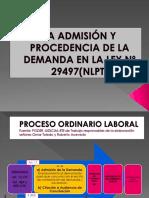 LA ADMISION Y PROCEDENCIA DE LA DEMANDA EN LA LEY 29497.ppt