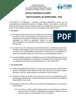 Edital PIM 2020 Monitoria