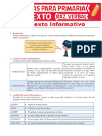 El Texto Informativo Para Sexto Grado de Primaria