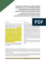 CARVALHO, Alessandra. Conhecimento Histórico Escolar, Tempo Presente e o Uso de Documentos