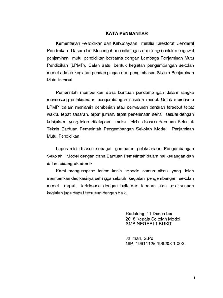 Laporan Akhir Pelaksanaan Kegiatan Spmi Smp N 1 Bukit