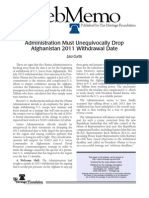 Administration Must Unequivocally Drop Afghanistan 2011 Withdrawal Date