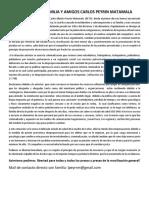 Comunicado Familia y Amigos Carlos Alberto Peyrin Matamala