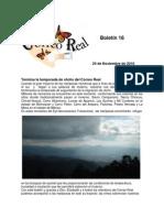 Boletin 16 de correo real de las mariposas monarca. Temporada 2010 - 2011