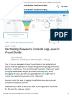 Controlling Browser's Console Log Level in Visual Builder