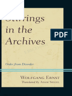 Wolfgang Ernst Stirrings in the Archives Order From Disorder