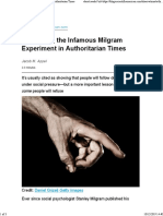 Rethinking the Infamous Milgram Experiment in Authoritarian Times