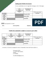 Planning EARL de La Licorne Bis