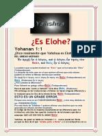 Yahshua NO Es Elohe