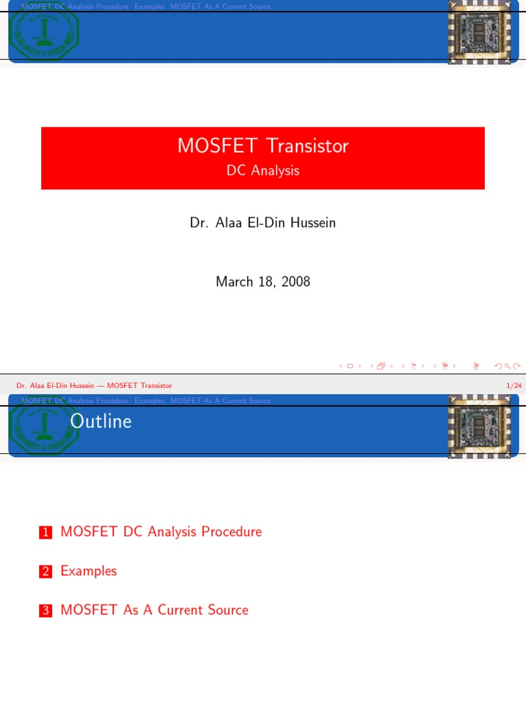 Mosfet Dc Analysis Field Effect Transistor Current Source