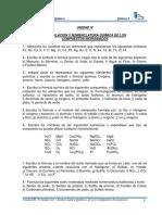 Unidad IV. Formulación y Nomenclatura Química de Los Compuestos Inorgánicos I-2014