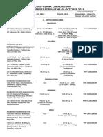 List of Properties for Sale October 2019