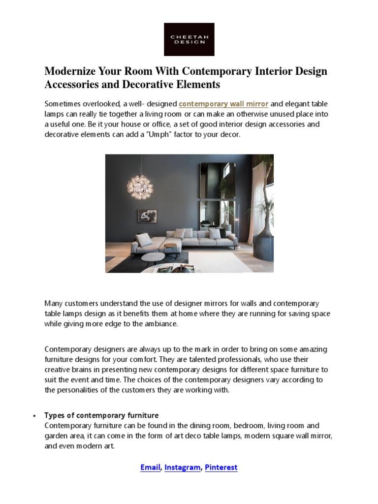 Contemporary Wall Mirror Furniture Interior Design