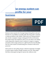 How a Solar Energy System Can Increase Profits for Your Business