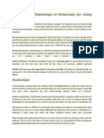 Advantages and Disadvantages of Parliamentary Law Making Process