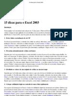 15 Dicas Para o Excel 2003