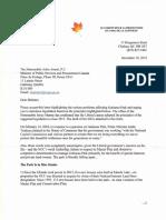 Letter Minister Anand Dec 10 2019