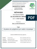 Oxydation Des Polyphénols Par Catalyse Enzymatique