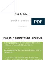 R i s k and R eturn - Portfolio return- Lecture on November 4, 2014.pptx