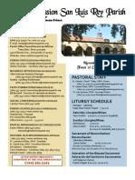 Mission San Luis Rey Parish Bulletin for the week of November 21, 2010