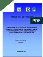 Elaboracion de Propuesta de Procedimiento Administrativo Ambiental Armonizado Para La Aplicacion de Sanciones Ambient Ales en Los Paises de La Region a