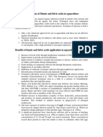 Applications of Humic and fulvic acids in aquaculture