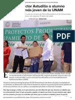 13-09-2019 Reconoce Héctor Astudillo a alumno guerrerense más joven de la UNAM.