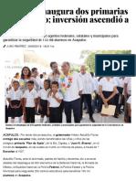 28-08-2019 Astudillo inaugura dos primarias en Acapulco; inversión ascendió a 44 mdp.