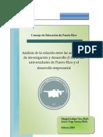 Análisis de la relación entre las actividades de investigación y desarrollo (I+D) en las universidades de Puerto Rico y el desarrollo empresarial