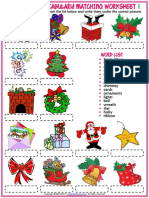 christmas vocabulary esl matching exercise worksheets for kids