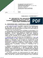 El Decreto de Necesidad y Urgencia 274_2019, La Competencia Desleal y La Ley de Lealtad Comercial