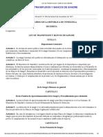 LEY DE TRANSFUSIÓN Y BANCOS DE SANGRE DE LA REPUBLICA BOLI9VARIANA DE VENEZUELA