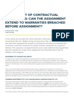 Herbert Smith Freehills - Assignment of Contractual Warranties- Can the Assignment Extend to Warranties Breached Before Assignment- - 2016-11-10