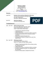 matthew juhlin teaching resume 2019