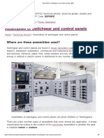 Assemblies of switchgear and control panels