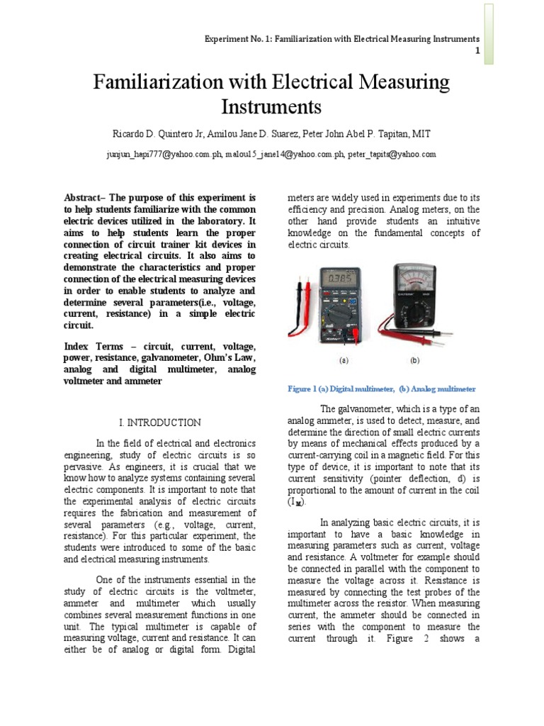 Familiarization With Electrical Measuring Instruments Electric Circuit Model Circuits Current Voltage