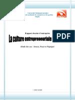 Rapport Culture Entrepreneuriale Régionale