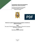 Tema de tesis Diseño de un plan de negocios